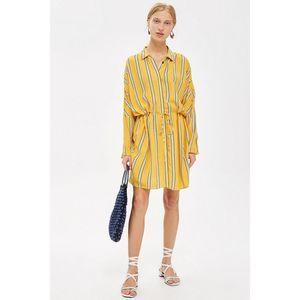 Topshop mustard striped long sleeve shirt dress